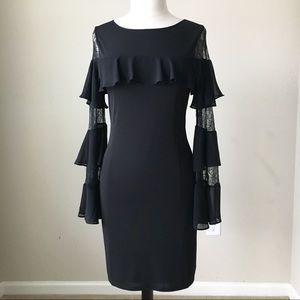 Long sleeve ruffle lace black shift dress